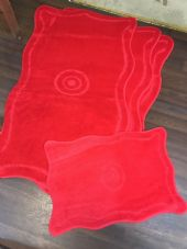 ROMANY GYPSY WASHABLES 4PC SET NON SLIP MATS 80x120CM TARGET DESIGN RED RUGS